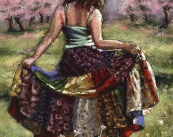 bohemian girl dancing in Summer field colorful fine art print by Alisa Wilcher