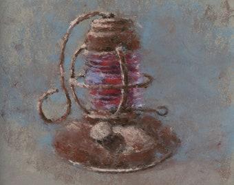 Original Pastel Painting still life Antique Oil Lantern