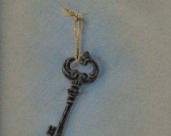 Original Pastel Painting still life sketch Key