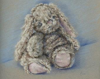 Original Pastel Painting still life sketch Bunny