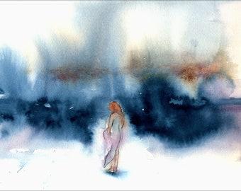 Watercolor Ocean Print, of my seascape painting, coastal wall art