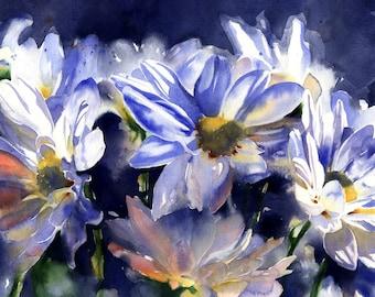 watercolor daisies painting fine art print original art alisapaints