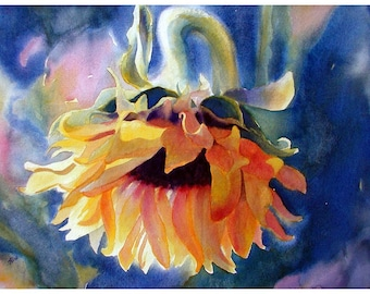 Sunflower watercolor painting Print, Watercolor flowers wall decor, Sunflower decor, gift for her