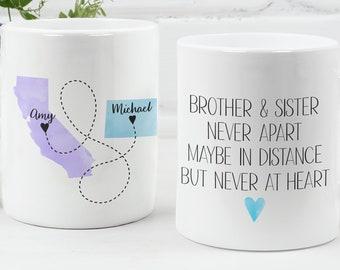 Coffee Mug, Brother and Sister, Custom State to State Mug, Personalized Mug, Gift for Her, Sibling Mug, Best Friend Mug, I Miss You Mug,