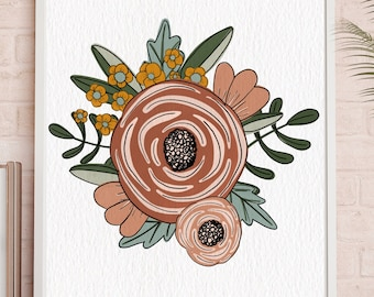 Printable Fall Wall Art, Floral Art Printable, Flower Wall Art, Living Room Decor, Autumn Wall Decor, Boho Living Room, Autumn Art Print