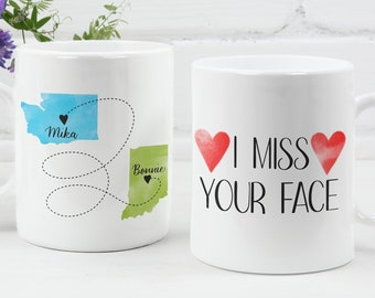 Custom State to State Mug, Mother's Day Gift, I Miss Your Face Mug, Personalized Mug, Gift for Her, Best Friend Mug, I Miss You Mug, Mom Mug
