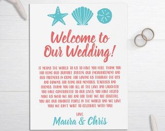 Wedding Welcome Letters, Beach Wedding Cards, Seashell Wedding Thank You Notes, Wedding Welcome Bags, Tropical Thank You, Wedding Itinerary