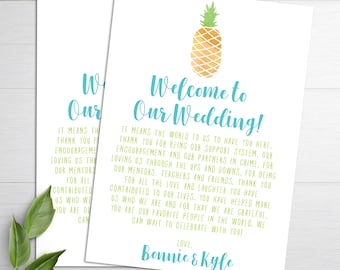 Wedding Welcome Letters, Wedding Itineraries, Pineapple Wedding Welcome Bag, Welcome Cards, Wedding Favor,  Destination Wedding, Thank You