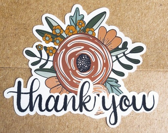 Wedding Thank You Stickers, Envelope Stickers, Small Business Thank You Stickers, Thank You Card Stickers, Floral Thank You Sticker Sheets