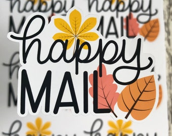 Happy Mail Stickers, Small Business Sticker, Autumn Sticker, Packaging Stickers, Fall Leaves, Happy Mail Sticker Sheet, Envelope Stickers