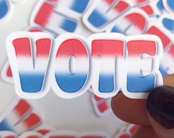 Election Stickers, Vote Sticker, Red White & Blue, Watercolor Stickers, Political Stickers, Vote 2020, Voting Stickers, Laminated Vote Decal