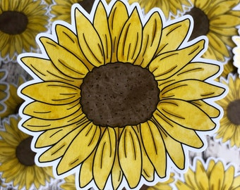 Sunflower Stickers, Watercolor Sunflower,  Gift for Her, Laptop Sticker, Stocking Stuffer, Planner Stickers, Tumbler Decals, Floral Stickers