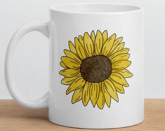 Sunflower Coffee Mug, Tea Mug, Sunflower Decor, Flower Mug, Sunflower Gifts, Ceramic Mug, Fall Mug, Best Friend Mug, Gift for Her