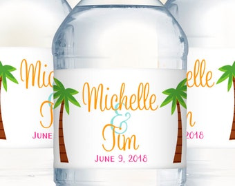 Water Bottle Label, Wedding Welcome Bag, Destination Wedding, Wedding Water Label, Wedding Favor, Waterproof Labels, Beach Wedding Favors