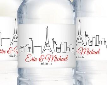 Wedding Water Bottle Labels, Las Vegas Skyline, Wedding Welcome Bags, Waterproof Labels, Destination Weddings, Vegas Wedding, Wedding Favors