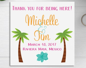 Welcome Bag Tags, Wedding Favor Tags, Wedding Welcome Bags, Destination Weddings, Wedding Bag Tags, Wedding Gift Tag, Tropical Palm Trees