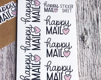 Happy Mail Sticker Sheet, Small Business Stickers, Happy Mail Stickers, Pen Pal Stickers, Cute Stickers, Packaging Stickers, Thank You Note