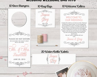 Wedding Welcome Bag Kit,  Welcome Box, Wedding Favors, Welcome Bags, Water Bottle Labels, Destination Weddings