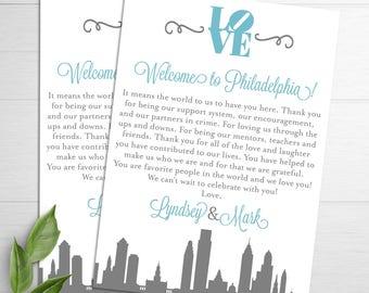Philadelphia Wedding Welcome Letters, Wedding Itineraries, Philly Wedding, Wedding Welcome Cards, Destination Wedding, Wedding Welcome Bags