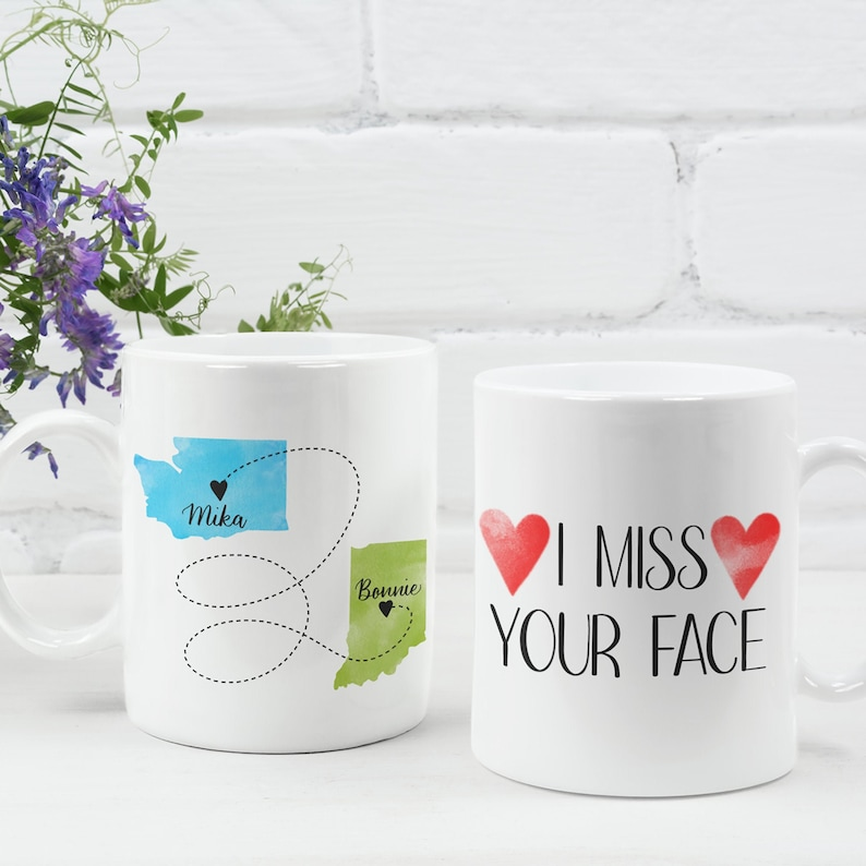 Custom State to State Mug Mother's Day Gift I Miss Your 11 Fluid ounces