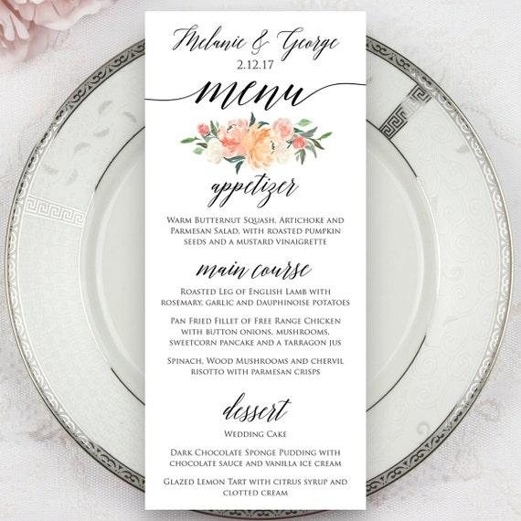 Southern Wedding Food Menus: Wedding Menus Printed Menus Menu Cards Dinner Menus