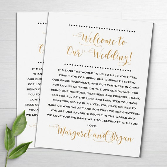 wedding welcome notes wedding itinerary welcome letters etsy