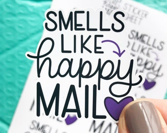 Smells Like Happy Mail Sticker Sheet, Wax Melt Stickers, Candle Small Business Stickers, Happy Mail Stickers, Packaging Stickers