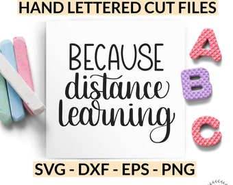 Because Distance Learning SVG, Wine Glass SVG, Funny Tumbler Cut File