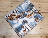 Deer Receiving Blanket - Deer Swaddle Blanket - Woodland Animals Soft Winter Flannel Baby Blanket - Baby Boy Photo Prop - Baby Bedding