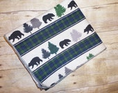 Baby Boy Blanket - Bear Plaid Swaddle Blanket - Nature Flannel Baby Blanket - Baby Photo Prop - Lumberjack Nursery - Baby Bedding