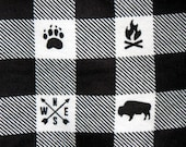 Buffalo Plaid Baby Blanket - Bear Flannel Swaddle Blanket - Lumberjack Baby Boy Blanket - Baby Photo Prop - Lumberjack Woodland Nursery