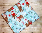 Sloth Baby Blanket - Christmas Sloth Swaddle Blanket - Baby Girl Boy Flannel Blanket - Baby Photo Prop - Sloth Nursery