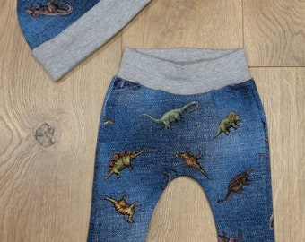 Denim Dinosaur Knit Baby Pants - T-Rex Baby Hat  - Newborn Coming Home Outfit - Baby Shower Gift - Preemie Baby Clothes - Dinosaur Baby Set