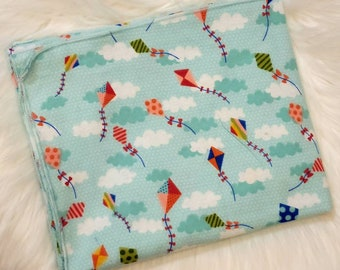 Kites and Clouds Baby Blanket - Let's Go Fly a Kite Flannel Swaddle - Baby Shower Gift - Baby Photo Prop - Kite Baby Nursery