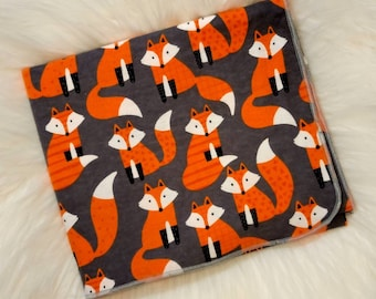 Fox Baby Blanket - Foxes Flannel Swaddle - Woodland Animal Receiving Blanket - Fox Baby Nursery- Baby Boy Girl Blanket - Baby Photo Prop