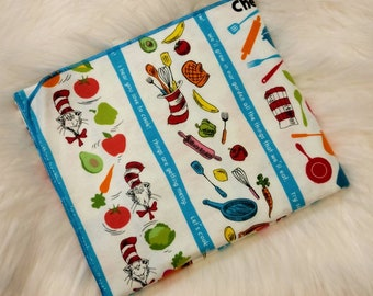 Dr Seuss Baby Blanket - Cat in the Hat Flannel Swaddle - Chef Foodie  Receiving Blanket - Baby Photo Prop - Baby Boy Girl Blanket