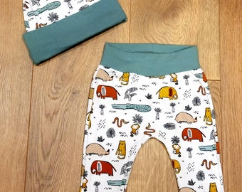 Zoo Animals Baby Outfit - Alligator and Elephant Baby Hat - Monkey Baby Pants - Safari Baby Outfit - Baby Shower Gift - Preemie Baby Set