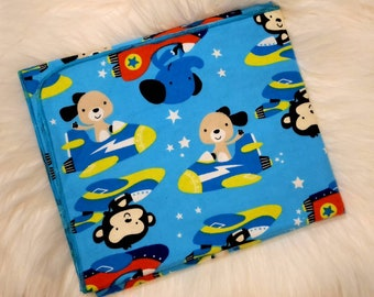 Rocket Ship Baby Blanket - Animals in Space Flannel Swaddle - Astronaut Baby Blanket - Baby Photo Prop - Outerspace Baby Nursery