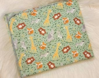 Wild Animal Baby Blanket - Giraffe Flannel Swaddle - Zebra Receiving Blanket - Baby Shower Gift - Baby Photo Prop - Wild Animal Nursery