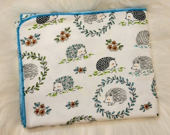 Hedgehog Baby Blanket - Hedgie Swaddle Blanket - Baby Girl Boy Flannel Blanket - Baby Photo Prop - Woodland Hedgehog Nursery