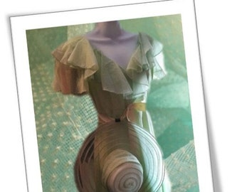 GROOVY 1970s dotted-swiss organdy gown maxi dress with matching floppy hat MCM ensemble set
