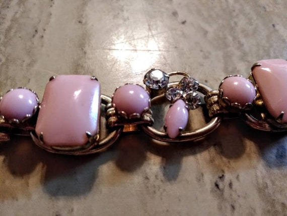 vintage 1950s mid-century modern chunky pink Brac… - image 3