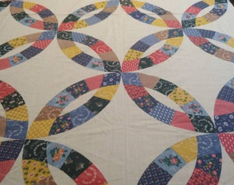 2 yds of Museum of American folk art 1987 spring industries fabric, wedding ring quilt pattern
