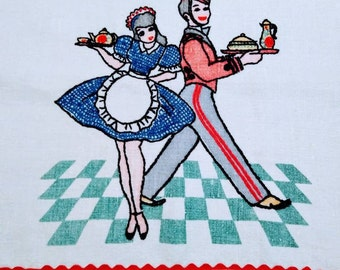 1940s vintage embroidered tea towel. Butler and waitress