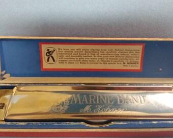 Hohner Marine Band No. 365, key of C harmonica in box