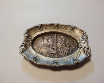 Vintage Tiny collectible trinket pewter tray souvenir of Paris France 1970-80s French, Eiffel Tower, Notre Dame