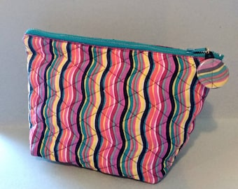 OOAK handcrafted with vintage quilted rainbow fabric cosmetic/ pouch- bag / makeup/ pencil/ misc bag with matching zipper pull