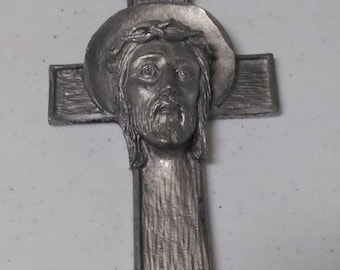 Christian cross crucifix Jesus hand chiseled pewter made in Italy