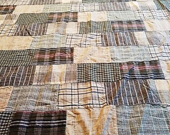 5 yds. Vintage 1980s fabric. Cotton patchwork in neutral and brown colors.