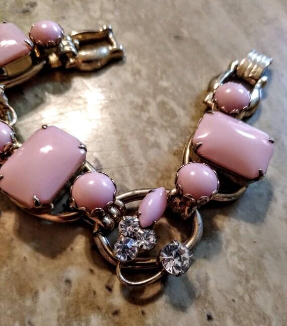 vintage 1950s mid-century modern chunky pink Brac… - image 4
